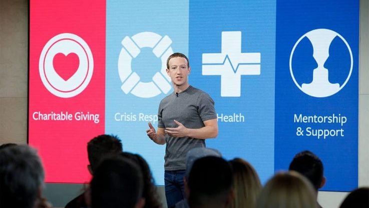 Mark Zuckerberg lors du Facebook Social Good Forum en novembre 2017