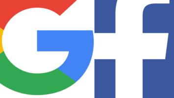 Photo montage des logos de Google et Facebook, deux des entreprises appelées Gafa